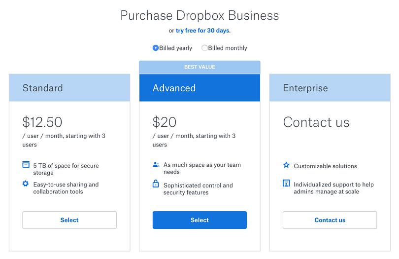 Dropbox Subscription page